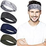 4 Stück Sport Stirnbänder für Herren und Damen, Einstellbare Breite Feuchtigkeitsableitendes Schweißband, Trainingsschweißbänder für Yoga, Laufen, Fitness, Wandern und Radfahren