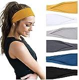 TERSE Stirnbänder Damen Stirnband Sport Haarbänder Elastisch Breit Haarreife für Frauen Yoga Workout Headbands