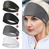 4 Stück Sport Stirnbänder für Damen, Feuchtigkeitsableitendes Schweißband, Gute Elastizität Stirnband für Alle, Trainingsschweißbänder für Yoga, Laufen, Fitnesstraining, Wandern Und Radfahren