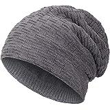 Compagno warm gefütterte Wintermütze Beanie Strickmütze Hat Herren Damen Mütze Haube Einheitsgröße, Farbe:Grau
