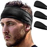 Stirnband Damen und Herren   Haarband Sport Schweißband mit Anti-Rutsch-Streifen   Sport Stirnband für alle Kopfgrößen (Schwarz)