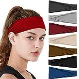 7 Stück Haarband Damen Gestrickt Stirnband Sport Yoga Haarbänder Elastisch Niedlich Haarschmuck Verstellbare Breit Haarreife Workout Headbandsfür Damen Mädchen
