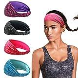 Linlook Damen Sport Stirnband - 4 Stück Breit Schweißband Stirn für Yoga Laufen Workout Training Fitness Tennis Gym Fahrrad Wandern Joggen - Elastische rutschfeste Haarband
