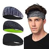 Sport-Stirnband 3 Pack, LATTCURE Herren Stirnband, Schweißband, Stirnband Anti Rutsch, für Jogging, Laufen, Wandern, Fahrrad- und Motorrad Fahren
