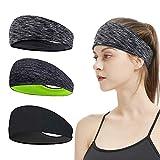 Sport Stirnbänder - 3 Stück Fitness Stirnbänder für Damen und Herren, 3 Farben Stück Anti Rutsch Elastische Wicking Haarband Set für Laufen, Atmungsakti Sport Kopftuch für Radfahren Yoga